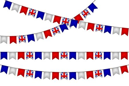 The United Kingdom of Great Britain garland with flags. carnaval and festival decoration. Vector illustration. White, blue, red. Illusztráció