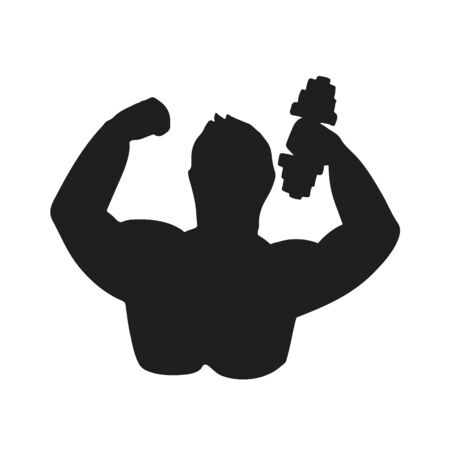 Abstract symbol of bodybuilder. Vector illustration. Black and white stylized silhouette.