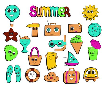 Summer icons collection. Cartoon character. Summertime travel vector illustration.