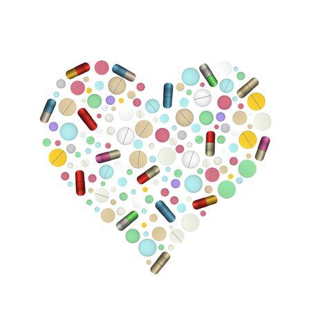 Heart shape pills. Vector illustration. Vitamin and tablet.