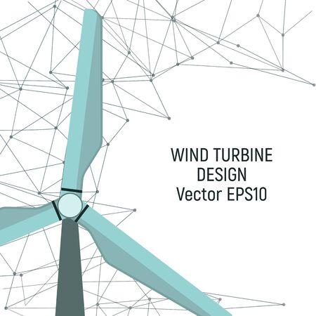 Wind turbine. Renewable electricity generation. Vector illustration. Modern technology.