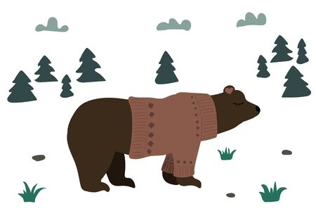 Cute brown bear in a forest. Vector illustration. Pink sweater. Fir tree. Clouds in the sky. Illusztráció