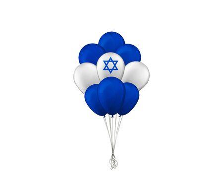 Bunch of balloons. Flag of Israel. Vector illustration