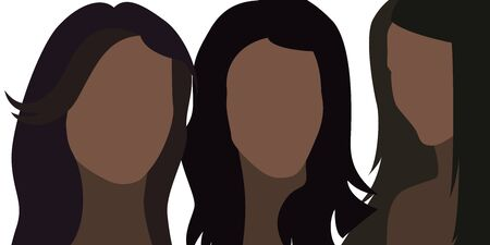 Woman flat face. Vector illustration. Young girls.