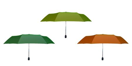 Set of green, orange and yellow umbrellas. Vector illustration. Protection from rain.
