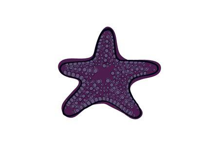 Violet starfish. Underwater animal. Vector illustration Star shape