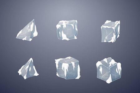 Set of transparency ice cubes and pyramids. Winters snow design. Vector illustration. 3D design. Dark background. Reklamní fotografie - 135478199