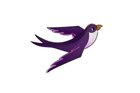 Bright purple bird fly. Vector illustration. Violet wings. Illusztráció