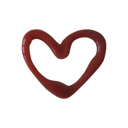 A heart shape of ketchup. Vector illustration. Bright tomato paste.