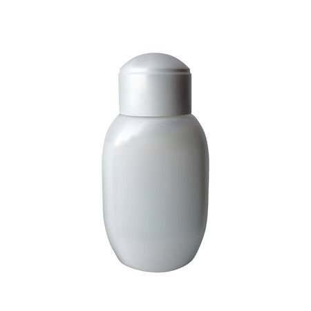 A small glass for Cologne. Vector illustration. White bottle.