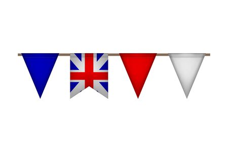 Great Britain triangle garland with flags. United Kingdom carnaval and festival. Vector illustration. White, blue, red. Illusztráció
