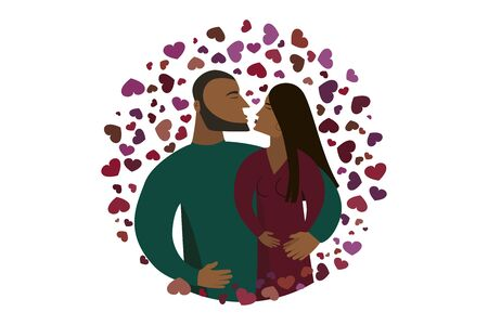 A man and woman kiss. Flat design icon. Vector illumination. Valentines Day postcard.