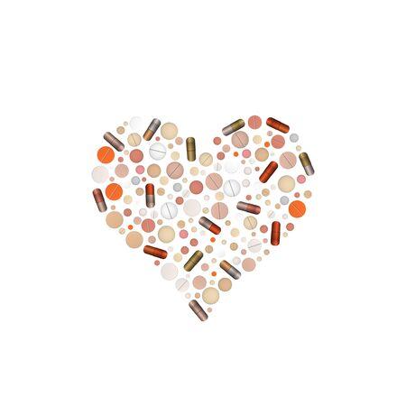 Heart shape pills. Vector illustration. Cardiac tablet. Illusztráció