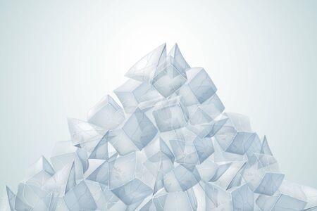Transparent ice pile. Vector illustration. Realistic texture.