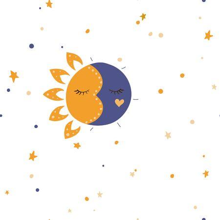 Sun, stars and moon. Vector illustration. Seamless pattern background.