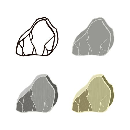 Marble stone set. Outline sketch, flat style and realistic. Vector illustration.