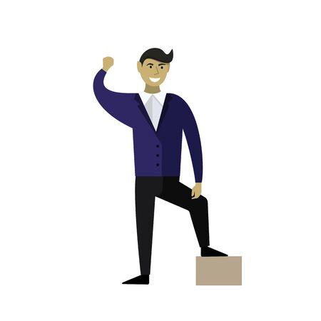 Businessman. Winner happy. Vector illustration Flat style Illusztráció