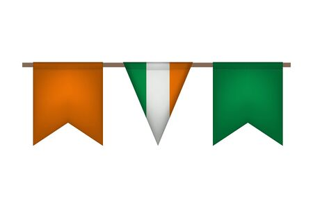 Ireland garland with flags. Carnaval and festival decor. Vector illustration.
