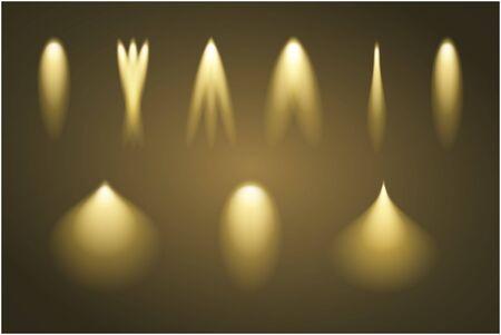 Set of light beams. Vector illustration. Gold illumination.