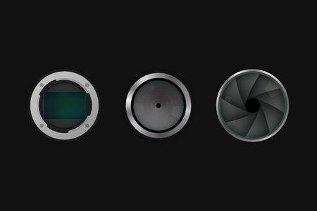 Image sensor, shutter and lens. Vector illustration. Camera equipment. Illusztráció