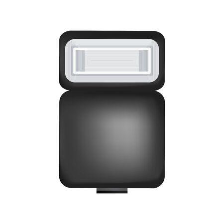 Speed Light for professional camera. Photographic equipment. Vector illustration.
