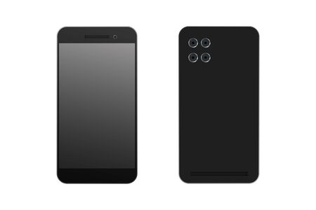 Realistic smartphone. View from front and back. Vector illustration.