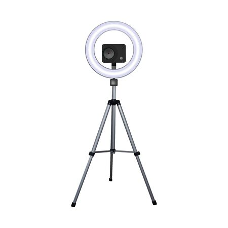 Action camera on a tripod. Circle speedlite. Vector illustration. Equipment for 4k video.