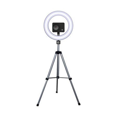 Action camera on a tripod. Circle speedlite. Vector illustration. Equipment for 4k video.