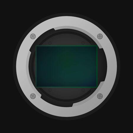 Full frame image sensor. Vector illustration. Part of camera. Illusztráció