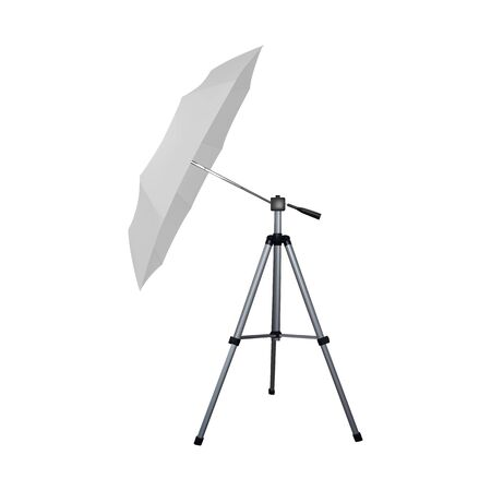 White umbrella reflector for flash. Professional camera equipment. A video illustration. Illusztráció