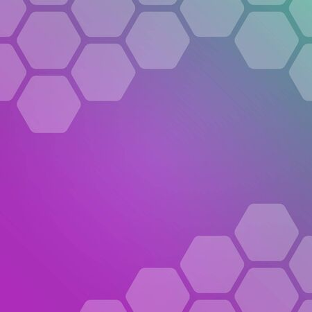 Abstract blue and violet background with hexagons. Web blank card design. Vector illustration.