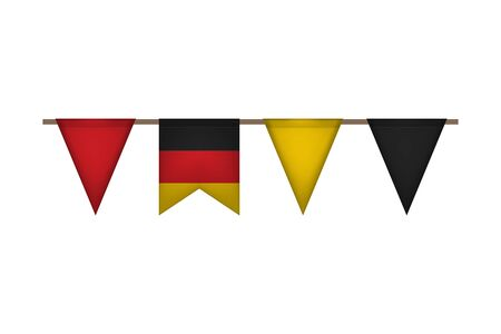 Germany garland with flags. Carnaval and festival event. Vector illustration. Black, red, yellow Illusztráció