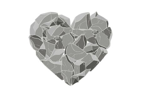 Gray stone heart. Vector illustration. Valentine day card.