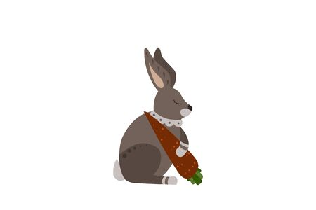 Gray hare with carrot. Sweet dreams. Vector illustration.