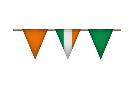 Ireland triangle garland with flags. Carnaval and festival decoration. Vector illustration. Orange, green and white.