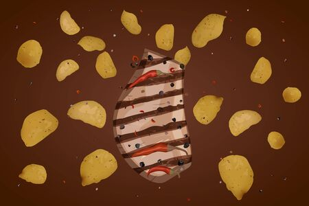Ralistic potato chips. Vector illustration. Snack product. Taste the barbecue meat on the grill. Illusztráció