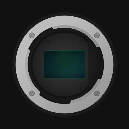 Crop image sensor. Vector illustration. Part of camera.