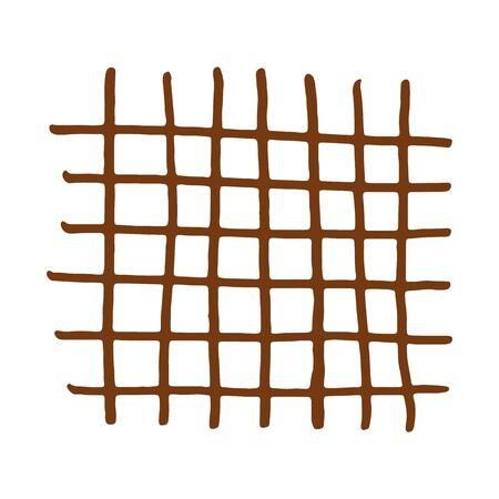 Handdrawn brown grid. Vector illustration. Stroke ink and marker. Illusztráció