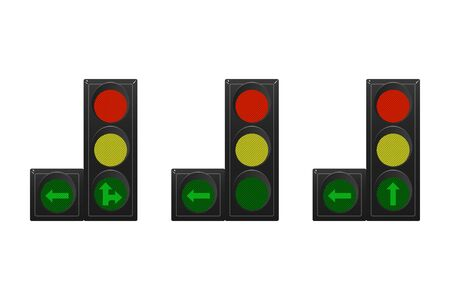 Set of traffic lights. Red, yellow and green. Arrow straight, turn right and left. Vector illustration. Road sign.