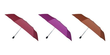 Set of pink and red umbrellas for women. Vector illustration. Protection from rain. Illusztráció