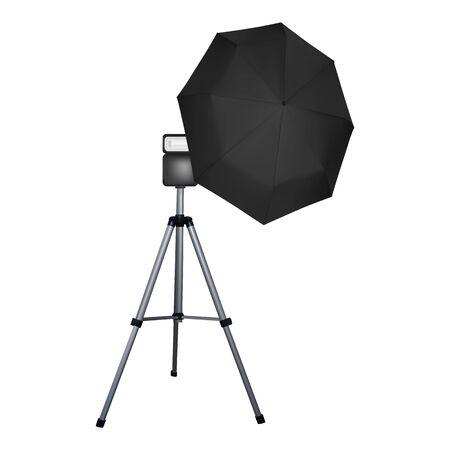 Black umbrella reflector for flash. Professional camera equipment. A video illustration.