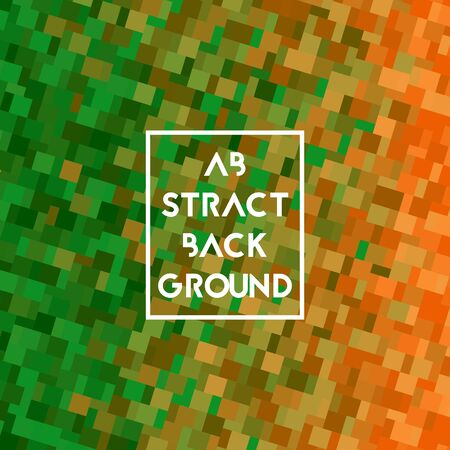 Background with square pixel texture. Vector illustration. Gradient green and orange.