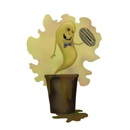Cartoon green Ghost. Smelly trash. Vector illustration Halloween day Illusztráció