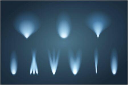 Set of light beams. Vector illustration. Blue illumination.