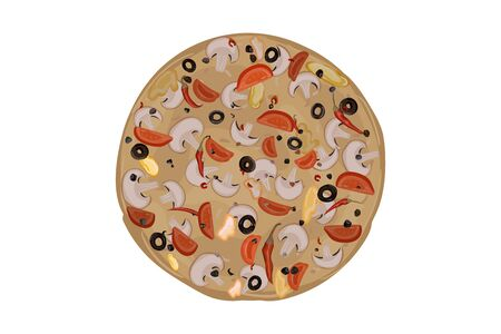Pizza with mushrooms. Tomato, pepper, olives, cheese dough champignons seasoning Vector illustration Ilustrace