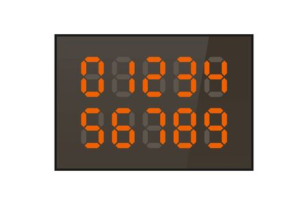 Digit orange Numbers on the display. Vector illustration. Electronic industry