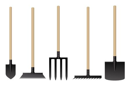 Garden tools. Vector illustration. Shovel pitchfork rake 일러스트