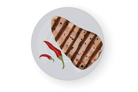 Barbecue steak with chili pepper. White background. Vector illustration. White dish. Vettoriali