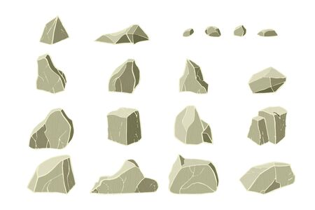 3D realistic stone collection. Vector illustration. Rock texture. 3D blocks.