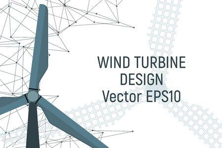 Windfarm electricity generator. Electric energy. Vector illustration. Modern industry. Ilustrace
